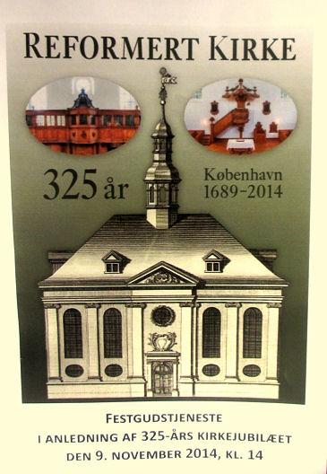 Affiche du 325eme anniversaire de l'église réformée de Copenhague