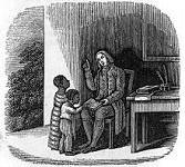 Gravure d'Antoine Bénénet avec deux enfants