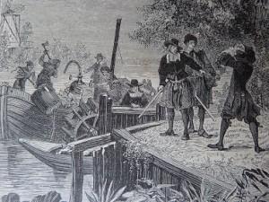 Gravure du bateau conçu par D. Papin