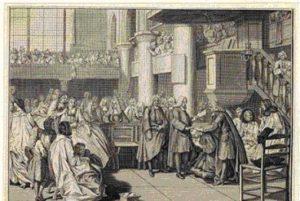 gravure montrant l'installation d'un nouveau pasteur