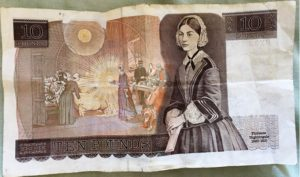 Photo d'un billet de 10 Livres montrant F. Nightingale