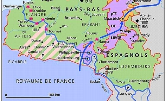 Carte des Pays-Bas espagnols