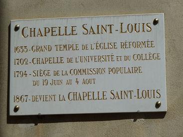 plaque apposée sur la chapelle Saint Louis