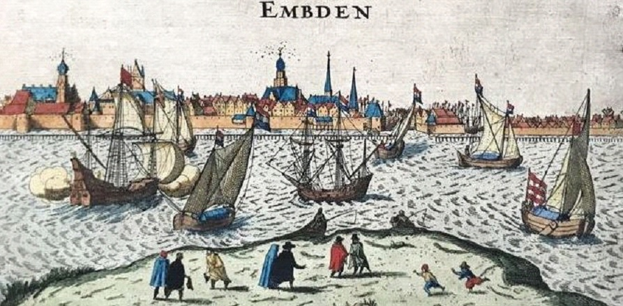 Gavure en couleurs du portde Emden