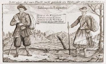 gravure de migrants protestants salzbourgeois 1731
