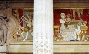 Photo de la frise en haut de la façade du Grand Palais
