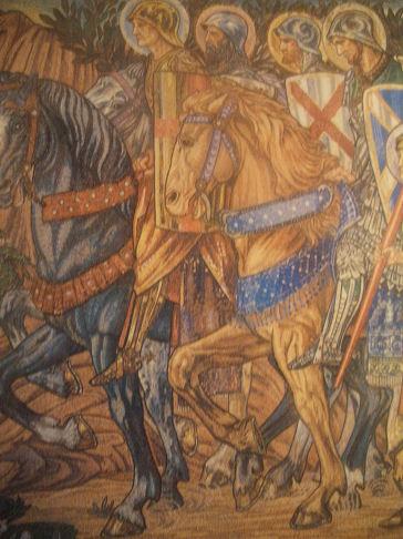 "mosaïque de Jones Burnes représentant Garibaldi en ""Chevalier de la foi"""
