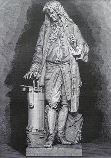Gravure représentant la statue de Denis Papin par A. Millet