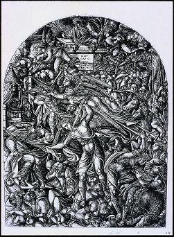 """une planche de """"l'Apocalyse figurée"""" gravée parJean Duvet 1561"""