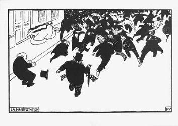 La Manifestation, xylogravure de Félix Valloton
