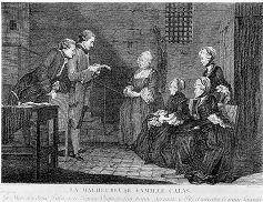 gravure représentant la malheureuse famille Calas