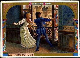 chromolithographie publicitaire 'LU' intitulée Les Huguenots