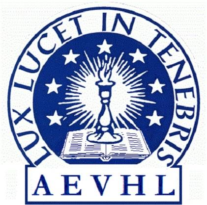 Logo bleu sur fond blanc