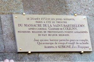 plaque commémorative de la saint-Barthélémy