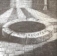 dessin du mot Register gravé dans la pierre de la Tour de Constance