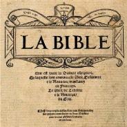 Page titre de la Bible d'Olivetan (détail)