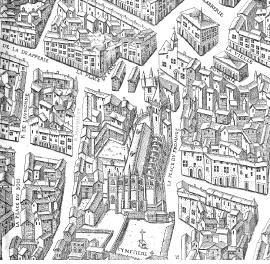 Plan scénographique de Lyon détail : quartier de Saint-Nizier